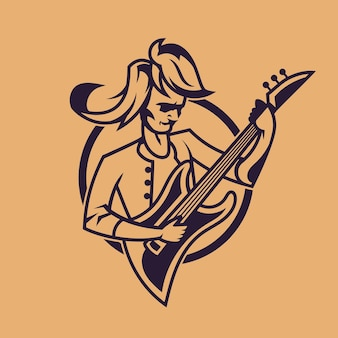 Man playing guitar. concept art of rock'n'roll in monochrome style.