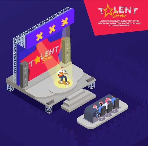 Uomo che suona la chitarra e canta sul palco alla composizione isometrica del talent show televisivo