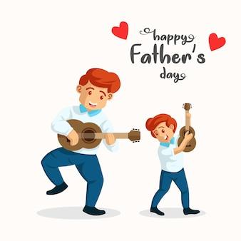 그의 아들과 함께 기타를 연주하는 남자. 아버지와 아들이 함께 음악을 연주입니다. 아들과 취미. 해피 아버지의 날 그림