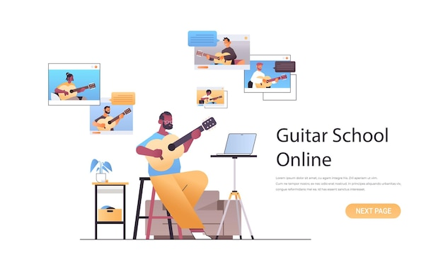 Man playing guitar with mix race people in web browser windows during virtual conference online music school concept
