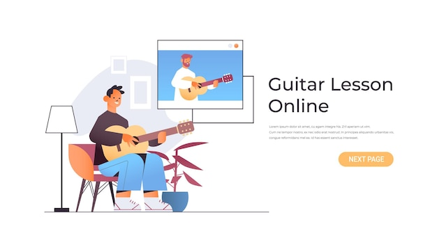 Man playing guitar with teacher in web browser window during virtual conference online music lesson concept