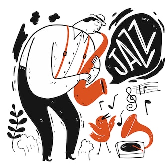 A man playing music. collection of hand drawn, vector illustration in sketch doodle style.