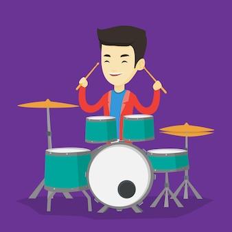 Человек играя на иллюстрации барабанной установки.