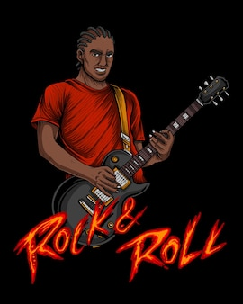 Man playing rock n roll with lesspaul guitar