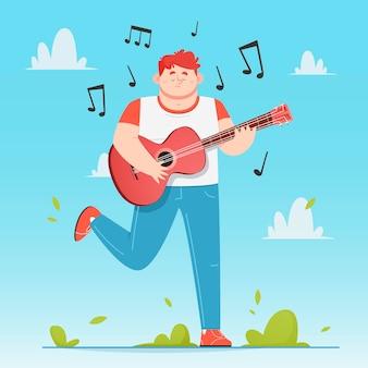 屋外でギターを弾く男