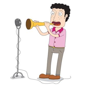 Человек играет на трубе на сцене