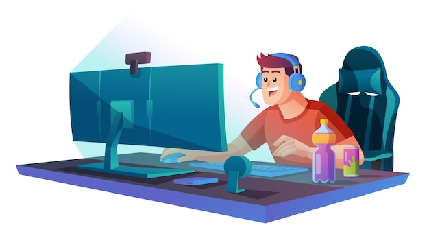 Man playing video game on the computer concept illustration