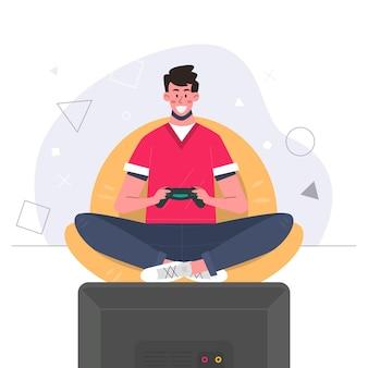 Человек играет в видеоигру с контроллером