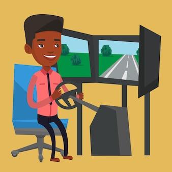 Man playing video game with gaming wheel.