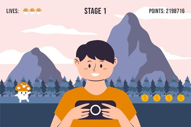 Uomo che gioca l'illustrazione del videogioco