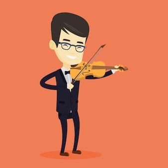 バイオリンの図を演奏する男。
