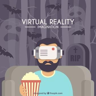 Человек играет в виртуальную реальность с попкорном