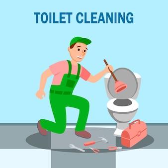 Man plumber plunger in hand repair toilet