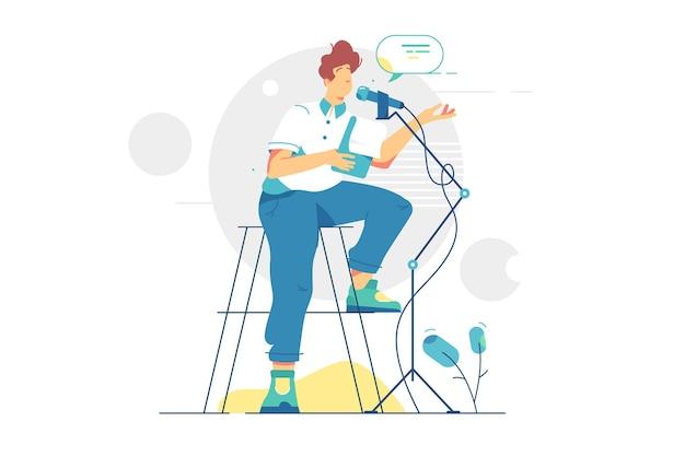 Человек подкастера записи аудиоподкаста. радостный человек по радио, плоский стиль вещания средств массовой информации. вебинар, онлайн-обучение, концепция обучающего подкаста.