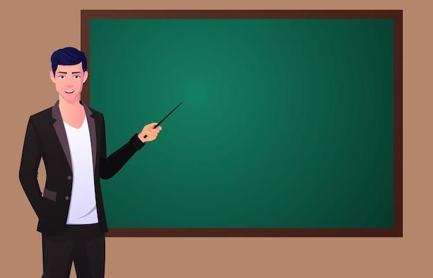 ブラック ボードを指している男。