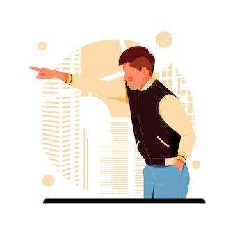 The man pointing, flat design concept.