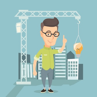 Man pointing at idea bulb hanging on crane.