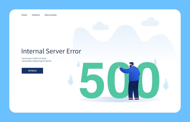Man pointing to number 500 internal server error empty state