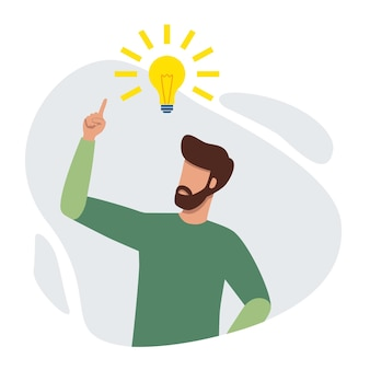 Man pointing up to the bright bulb having fresh idea and finding problem solution