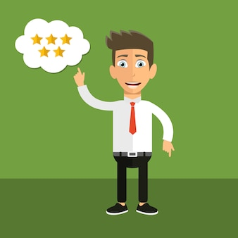 Man pointing up on five star review