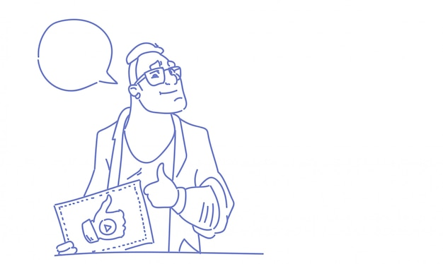 Man popular video blogger like thumb up gesture sketch doodle