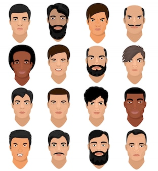 헤어 스타일 및 다양한 피부 색조와 수염 그림 흰색 배경에 고립 된 남성 얼굴 기능 세트 수염과 소년의 남자 초상화 벡터 남성 캐릭터 얼굴