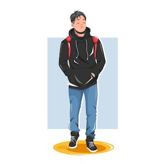 Человек позирует в стильных нарядах иллюстрации