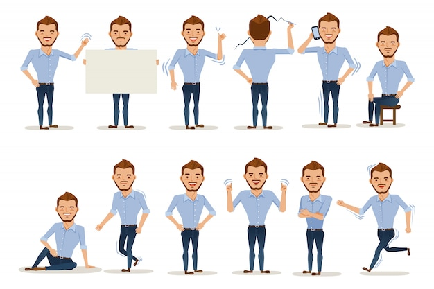 Man posture man character in casual clothes in different poses.