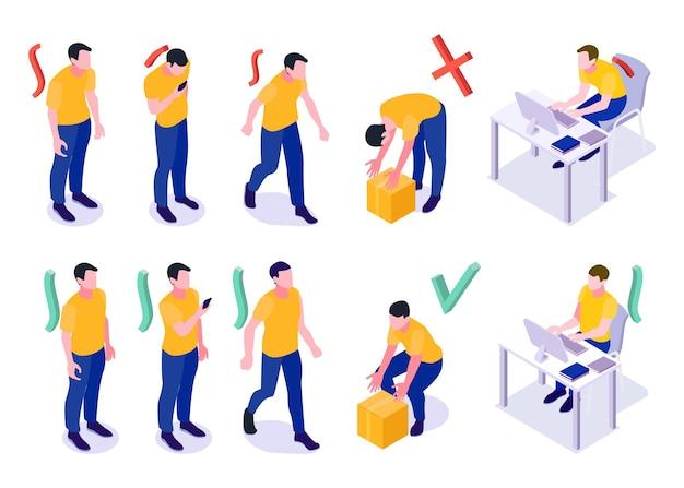 Изометрические позы человека с неправильной и хорошей ходьбой, поднятием тяжестей, сидя за компьютером, иллюстрации