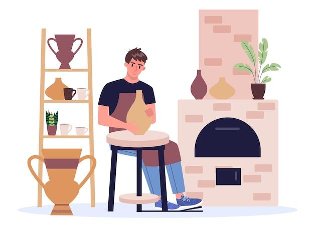 Человек гончар в фартуке, делая керамическую чашу и горшок. ремесленник и гончарное дело. художник лепит флягу и кувшин. по вкусу, со вкусом, стильно