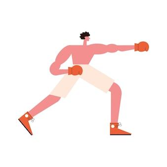권투 스포츠 캐릭터를 연습하는 남자