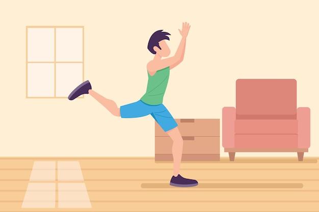 집에서 댄스 피트 니스를 연습하는 남자 무료 벡터