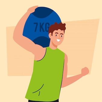 7キロのボールでの運動、レクリエーション運動スポーツの男