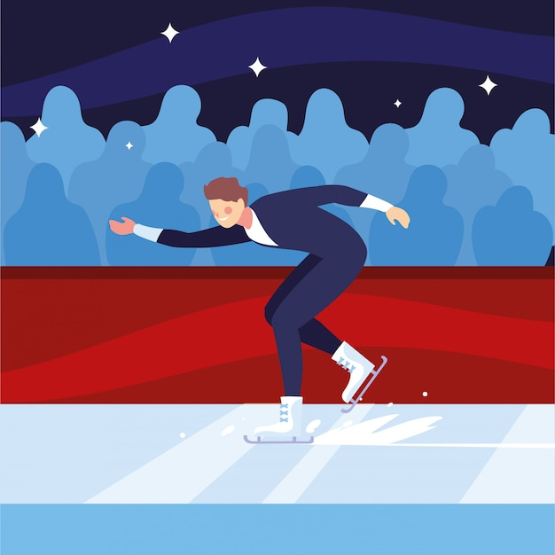 Man practicing figure skating , ice sport