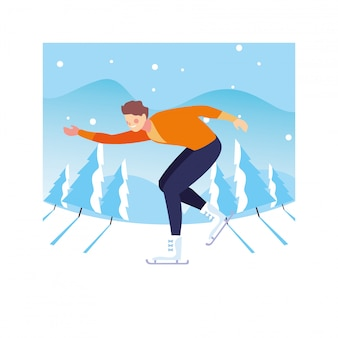 Man practicing figure skating with landscape of winter