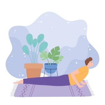 Man practicing yoga bhujangasana pose exercises, healthy lifestyle, physical and spiritual practice  illustration