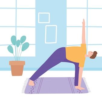 ヨガトリコナサナポーズの練習、健康的なライフスタイル、身体的および精神的な練習の図を練習する男