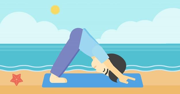 Man practicing yoga vector illustration.