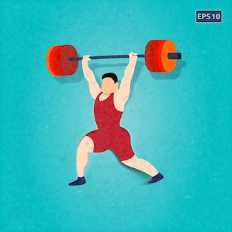 Man practising weighlifting design