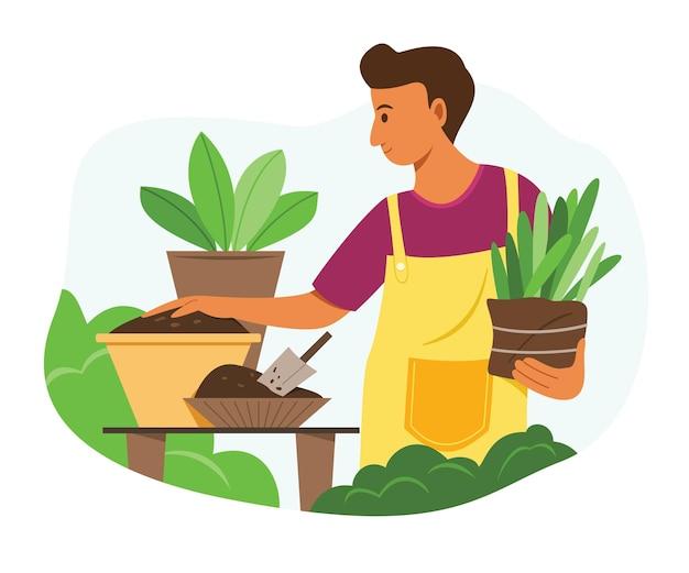Человек готовит почву для посадки в саду