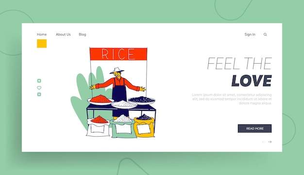 Man presenting crop of cereals on outdoor fair landing page template.