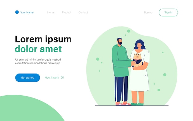 Man presenting dog to woman. female character holding happy puppy. bearded male character giving dog with red ribbon to his sweetheart. love concept for banner, website design or landing web page