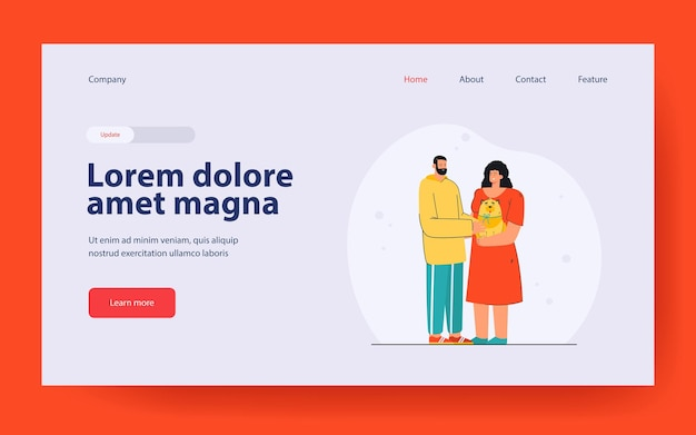 Man presenting dog to woman landing page in flat style