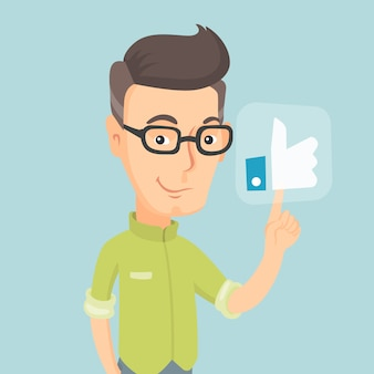 Man pressing like button vector illustration.