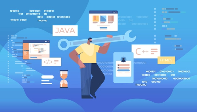 Man programmer holding wrench developer optimizes software engineering coding programming testing code concept horizontal full length vector illustration