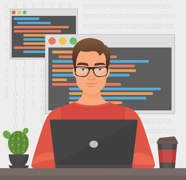 Человек программист работает с ноутбуком кода. программирование кодирования.