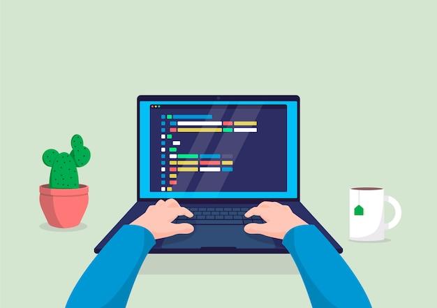 화면 그림에 코드로 컴퓨터에서 작업하는 남자 프로그래머.