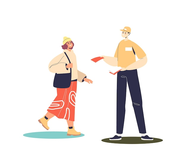 Man promoter giving leaflets to attract new clients or buyer on street offline. outdoor promotion distribution and commercial campaign concept. cartoon flat vector illustration