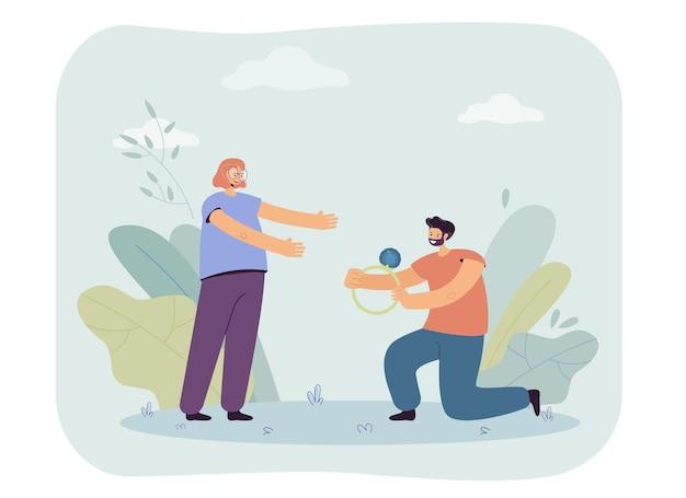 Man proposing to woman illustration