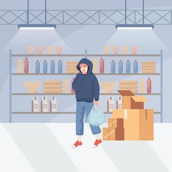 Man in protective mask doing shopping during global pandemic of coronavirus   illustration.
